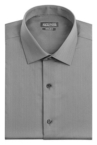 (Kenneth Cole Men's Textured Regular Fit Solid Spread Collar Dress Shirt, Grey, 17