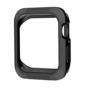 OULUOQI Compatible with Apple Watch Case 44mm, Shock-Proof and Shatter-Resistant Compatible with Apple Watch Protector Replacement for Apple Watch Series 4 - Black