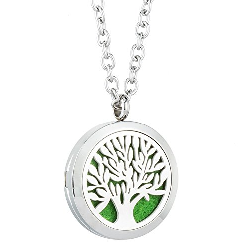 Tree of Life Aromatherapy Essential Oil Diffuser Necklace - 316L Stainless Steel Locket Pendant Perfume Jewelry - for Women,Girl,Wife Gift with Elegant Box By (Happy Summer Perfume)
