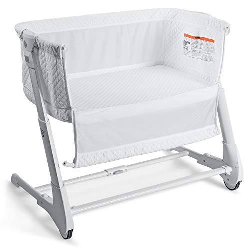 BABY JOY Baby Bedside Crib, 2 in 1 Height & Angle Adjustable Sleeper Bed Side Bassinet w/Detachable & Washable Mattress, Straps, Easy Folding Movable Cradle for Newborn Infant, Breathable Mesh (White)
