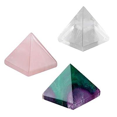 SUNYIK Quartz Crystal Pyramid Healing Figurine 1-1 1/8 inch