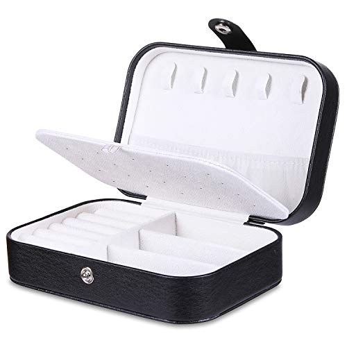 misaya Travel Jewelry Case Box - Women PU Leather 2 Layer Jewelry Organizer Holder for Necklace Earring Rings, Black