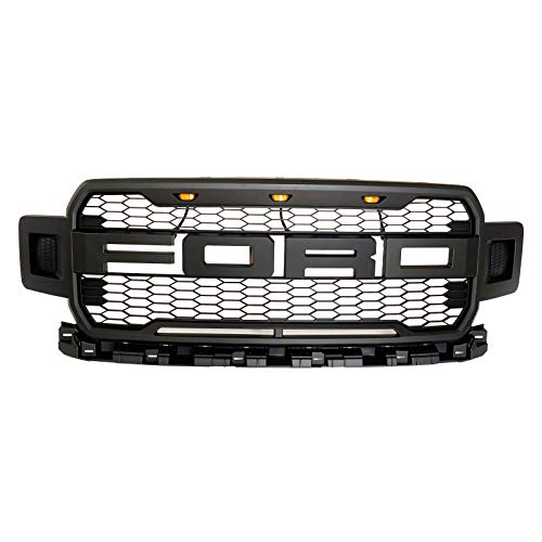 Front Grille Fits 2018-2019 FORD F150 ABS Mattle Raptor Style Honeycomb Grille with Conversion Letter (Black)