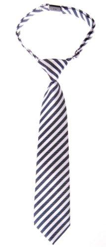 Retreez Striped Woven Pre-tied Boy's Tie - Navy Blue and White Stripe - 4 - 7 (Blue Stripe Silk Boys Tie)