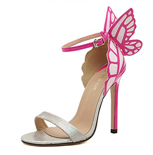 Photno New Women's Butterfly Series Heeled Sandals Ankle High Heels Open Toe Mid Heel Sandals Bridal Party Shoe Silver