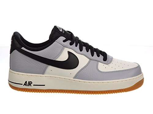 Price comparison product image Nike Men's Air Force 1 Low Wolf Grey / Black / Sail / Gum Light Brown Leather Casual Shoes 8 M US