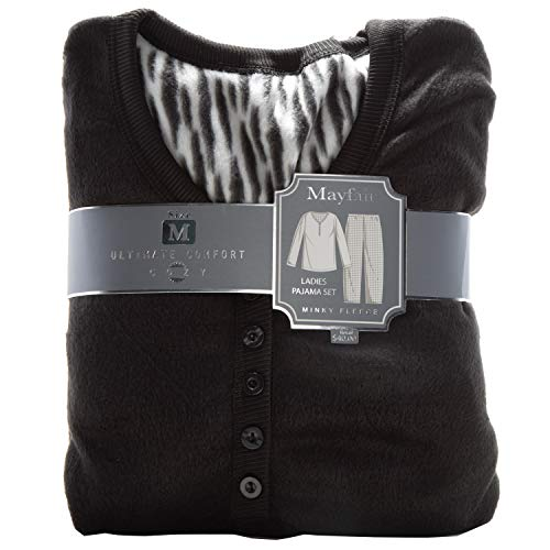 Fleece Lounge Set - ReLive Women's Ultra Soft Minky Fleece 2-Piece Ladies Pajama Set