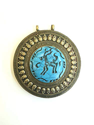 Afghan Turquoise Inlaid Deer Engraved Intaglio Pendant Alpaca Silver Round Shape Ethnic Tribal Gemstone Turkmen Jewelry 7.5cm×8cm Collection