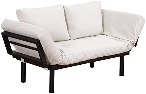 HOMCOM Convertible 5-Position Futon Daybed Lounger Sofa Bed – Black Cream White