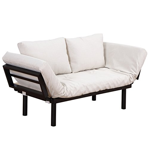 HOMCOM Convertible 3-Position Futon Daybed Lounger Sofa Bed - Black/Cream White