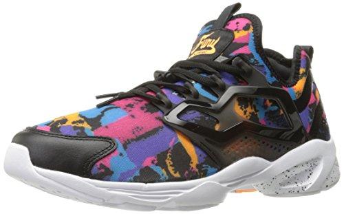 Reebok Mens Fury Adatta Ac Fashion Sneaker Nero / Acciaio / Fuoco Saprk / Mania Rosa / Teal Caraibico