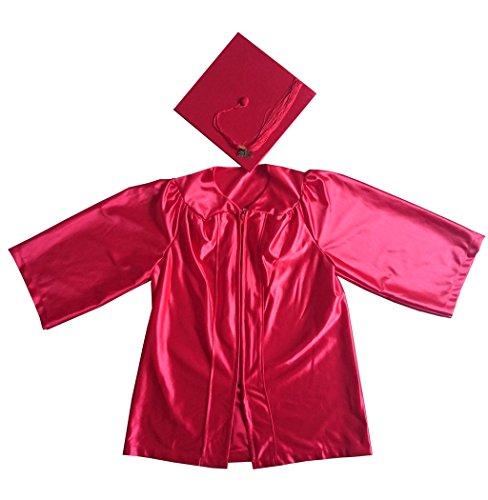 Grad Days Kindergarten Graduation Gown Cap Tassel 2018 Shiny Robe 27(3'6''-3'8'') Red