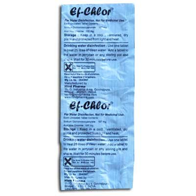Ef chlor Portable water purification tablets (10 per pack,each tablet purifies 6,6 gallons)