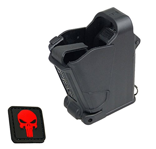 UpLULA Smith & Wesson SW S&W Mag Loader - 9mm to 45ACP Maglula Uplula Pistol Speed Magazine Loader. Loads all* 9mm Luger, 10mm, .357 Sig, 10mm, .40, and .45ACP cal Weson Wessen + mini RED Punisher PVC Patch