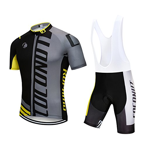 (Men's Cycling Jersey Short Sleeve Full Zip Bike Clothing Set Quick-Dry Bib Shorts with 3D Gel Padded (Gray/Yellow, XL))