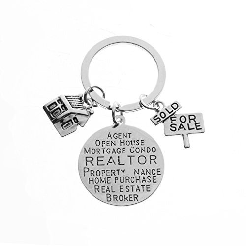 Infinity Collection Realtor Keychain, Real Estate Broker Gift, House Keychain, Realtor Gift for Men & Women
