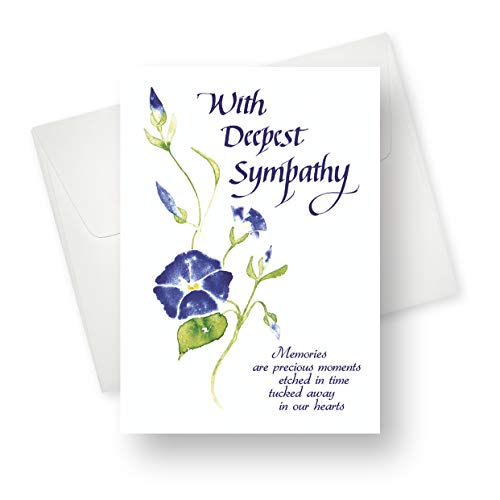 (48 Pack) Flower Wisp Sympathy Greeting Card - Premium Quality with Unique Designs - for Men, Women, Adults - 5.5