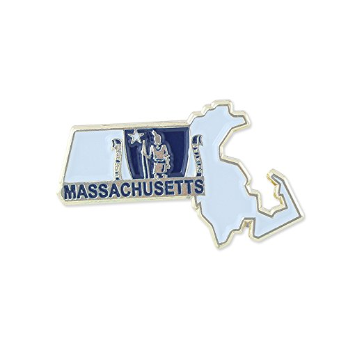 Forge Massachusetts State Shape Outline and Massachusetts State Flag Lapel Pin - Bulk Value Pack Available! (1 Pin)