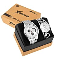 Rich Club Set of 2 Addictive Silver Analogue Couple Watch for Men