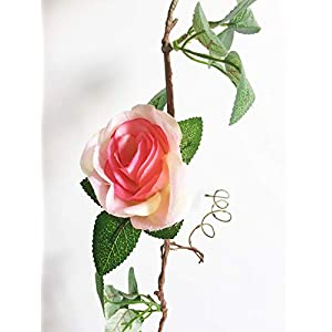 Artfen Artificial Rose Old Vine Fake Rose Flowers Garland Hanging Baskets Plants Home Outdoor Wedding Arch Garden Wall Decor Champagne Pink 3