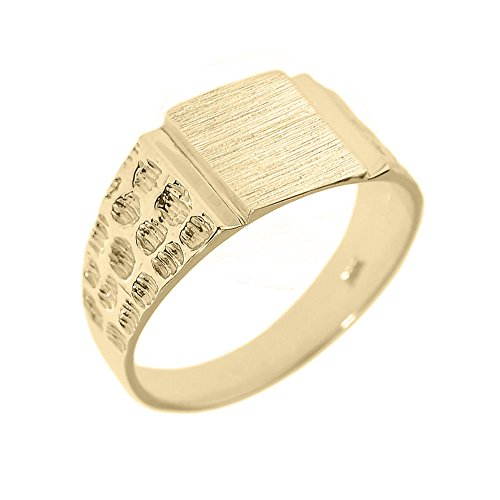 Men's High Polish 10k Yellow Gold Engravable Square Top Nugget Band Signet Ring (Size 4.25)