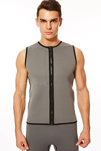 DEHAI Wetsuit Vest Mens Top 3mm Premium Nylon Neoprene Sleeveless Zipper Wet suit for Youth Adult Men's Women Water Swim Snorkel Scuba Diving Surfing (Gray, M) (3mm Zipper Vest)