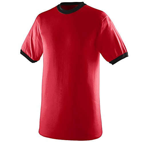 ens Ringer Tee Shirt, Red/Black, Small (Red Apparel Adult Tee)