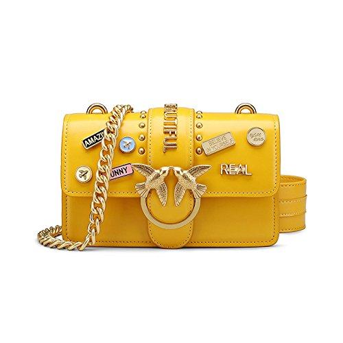 Addora Women Genuine Leather Wide Shoulder Strap One Shoulder Mini Crossbody Bag, White Yellow