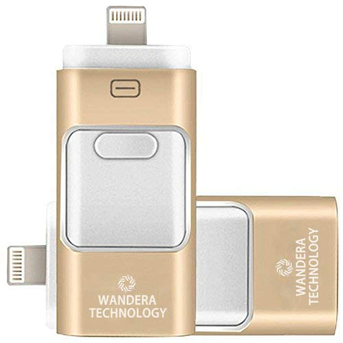 128GB iPhone USB Flash Drive, iPad Memory Stick, iOS External Storage Expansion for iOS Android PC Laptops (Gold) by Wandera Technology