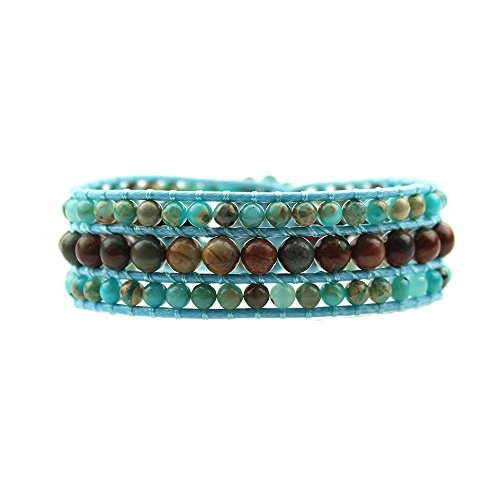 IUNIQUEEN Natural King Stone with Alloy Sunflower Button Genuine Leather Wrap Bead Bracelet (Picasso Stone&King Stotne) ()