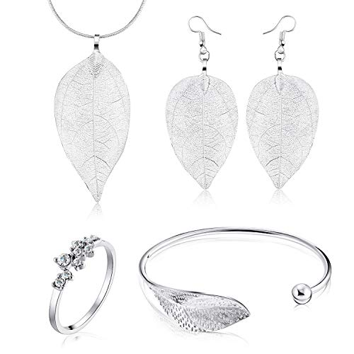 Blulu 5 Pieces Women Jewelry Open Leaf Cuff Bracelet, 9 Diamonds Wedding Rings, Filigree Long Leaf Pendant Dangle Necklace and Earring Jewelry -