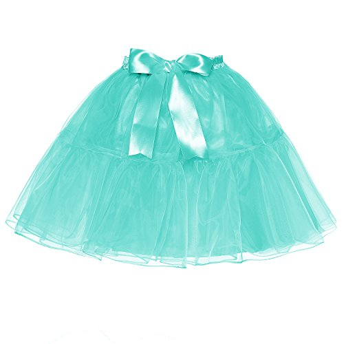 LSCY Femmes Au-Dessus Au Genou Jupe Bowknot Couches Tutu Petticoat Taille Haute Tulle Plusieurs Tailles Lake Blue