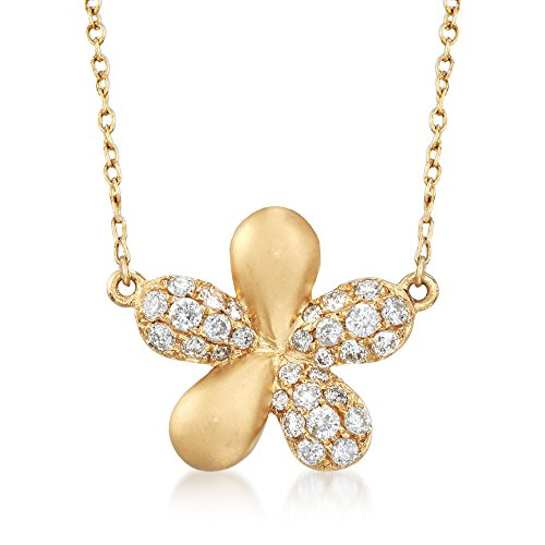 Ross-Simons 0.30 Ct. T.W Diamond Flower Necklace in 14kt Yellow Gold ()