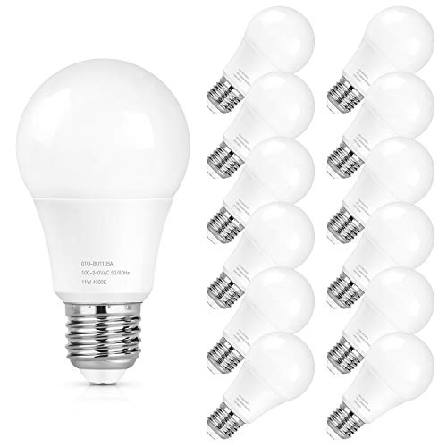 SHINE HAI A19 LED Light Bulbs, 100 Watt Equivalent LED Bulbs, 4000K Daylight White, 1100 Lumens, Non Dimmable, Medium Screw Base (E26), CRI80+, 12-Pack