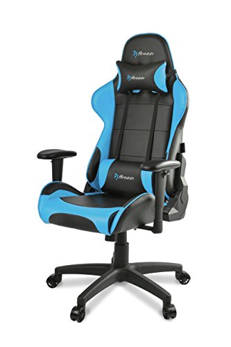 (Arozzi Verona V2 Advanced Racing Style Gaming Chair with High Backrest, Recliner, Swivel, Tilt, Rocker and Seat Height Adjustment, Lumbar and Headrest Pillows Included, Blue)