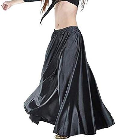 Leayao - Vestido de Danza para el Vientre, Falda de satén Negro ...
