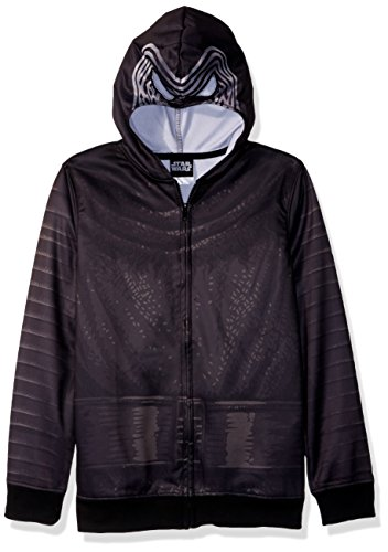 Star Wars Big Boys' Kylo Sublimated Fleece Zip Costume Hoodie, black, -