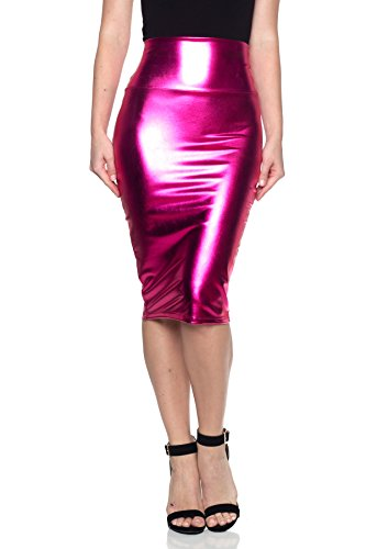 Cemi Ceri Women's J2 Love Made in USA Faux Leather Pull on Midi Pencil Skirt, XL Hot Pink (Lady Hot Pink Leather)