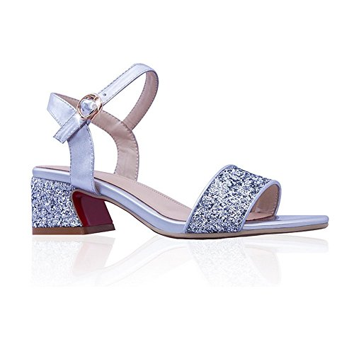 1TO9 Womens European Style Kitten-Heels Silver Blend Materials Sandals - 7.5 B(M) US jFi9o1ftFS