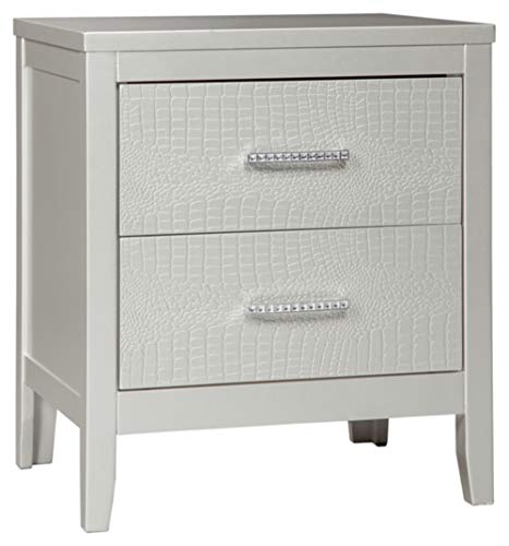 Ashley Furniture Signature Design - Olivet Nightstand - Contemporary Glam - 2 Drawers - Silvertone Metallic Finish - Chrome Pulls w/ Decorative Faux Crystals