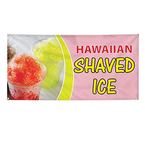 Vinyl Banner Sign Hawaiian Shaved Ice #1 Style D Sweet Marketing Advertising Pink - 28inx70in (Multiple Sizes Available), 4 Grommets, Set of 5