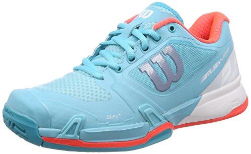 Wilson Women's Rush Pro 2.5 Blue Curacao/White/Fiery Coral 8.5 B US (Shoes Tennis Women Wilson)