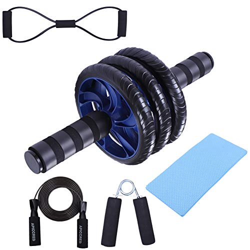 APICCRED 5 in 1 Workout Set, Ab Wheel Roller Kit with Knee Pad, Hand Gripper, Adjustable Jump Rope, Figure 8 Band for Abdominal Core Exercise