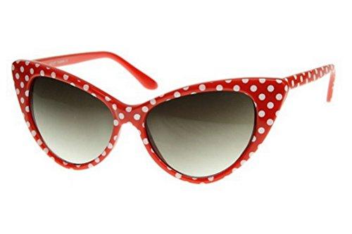Cateye Womens Eyeglasses or Sunglasses Vintage Inspired Fashion (Red Polka Dot)