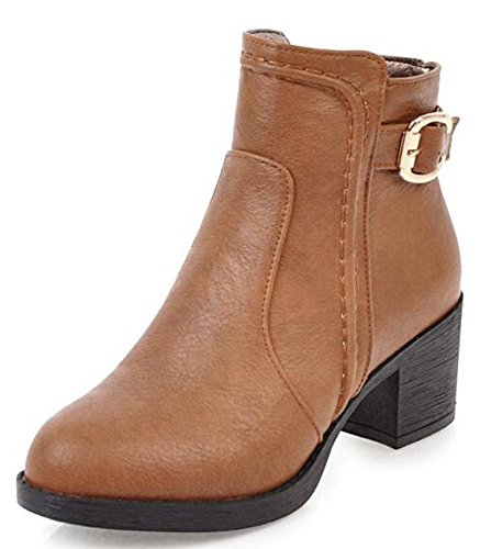 Aisun Women's Vintage Buckle Side Zipper Ankle Boots With Mid Chunky Heels Yellow