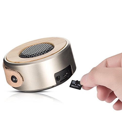 ZoomZam Bluetooth Speakers, Portable Wireless Stereo super bass Bluetooth MP3 Speakers with Built-in Mic Hands-Free Speakerphone, 3.5mm Aux/Line-In and TF Card Play, Gold Photo #4