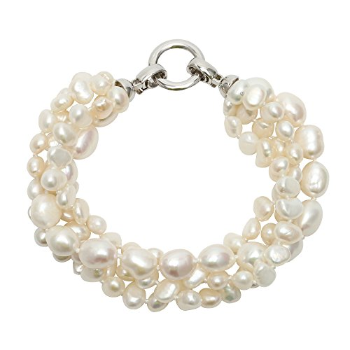 Multi Strand Freshwater Pearl Bead Bracelet 4 Row Wrap Bangle For Women Bride Strand Pearl Mothers Bracelet