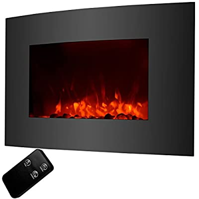 "GJH One 1500W Electric Fireplace Wall Mount & Free Standing Heater with RC 35""x22"""