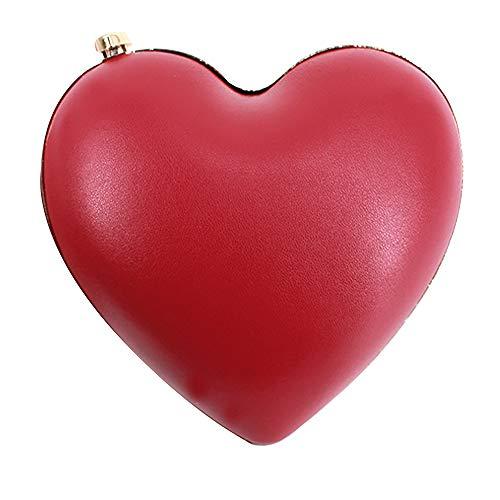 - Sun Kea Womens Girls Heart Shaped Crossbody Bag Mini Chain Clutch Handbag Purse, Red
