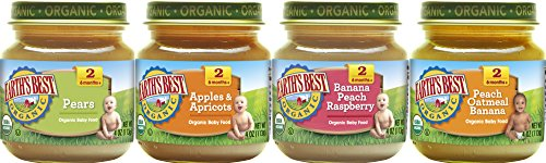 Earth's Best Organic Stage 2 Baby Food, Favorite Fruits Variety Pack, 4 oz. Jar (12 Count) ()